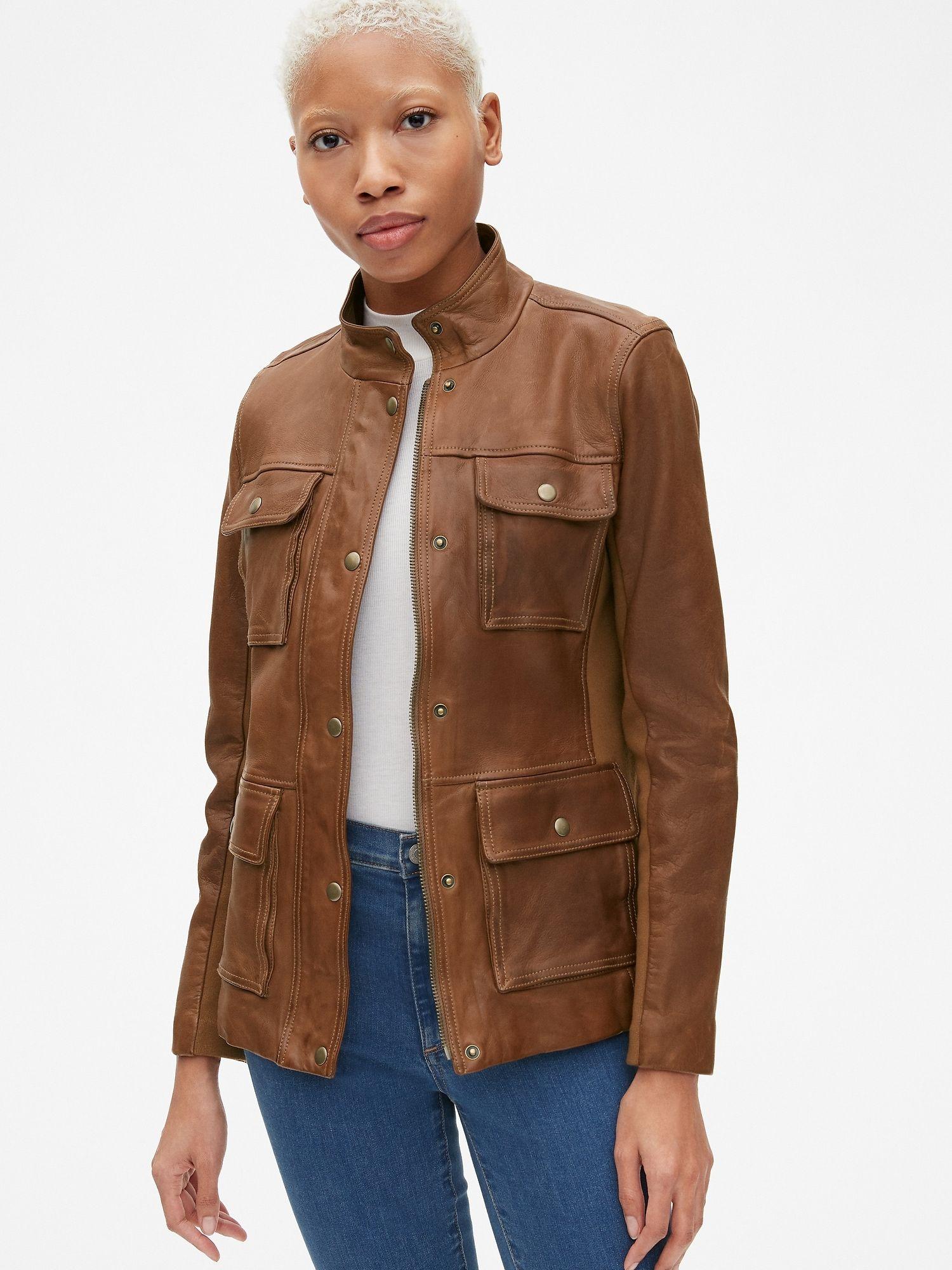 Utility Leather Jacket With Rib Knit Trim Gap Coats Jackets Women Stylish Outerwear Outerwear Women [ 2000 x 1500 Pixel ]