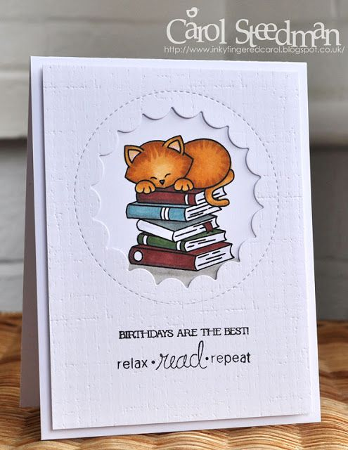 Inky Fingers Newtons Nook Cat Birthday Card For A Book Lover