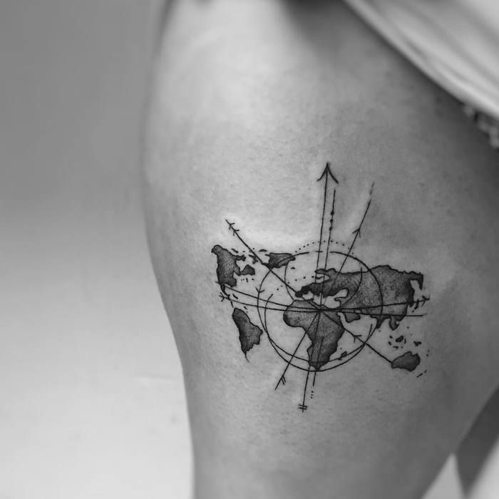 35 best world map tattoo ideas for travel lovers map tattoos 35 best world map tattoo ideas for travel lovers page 2 of 3 tattoobloq gumiabroncs Gallery