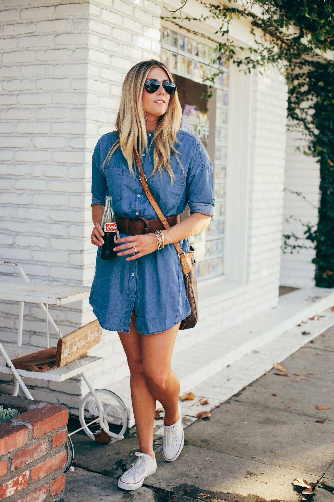 Shoes with a denim dress