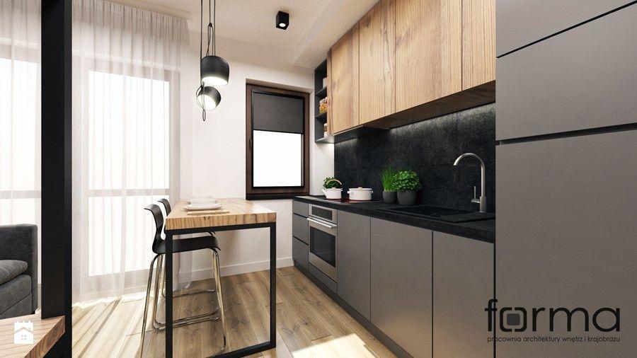 Mieszkanie Czerwone Maki Srednia Otwarta Kuchnia Jednorzedowa W Aneksie Z Oknem Styl Industrialny Zdjecie Kitchen Design Kitchen Room Design Kitchen Style