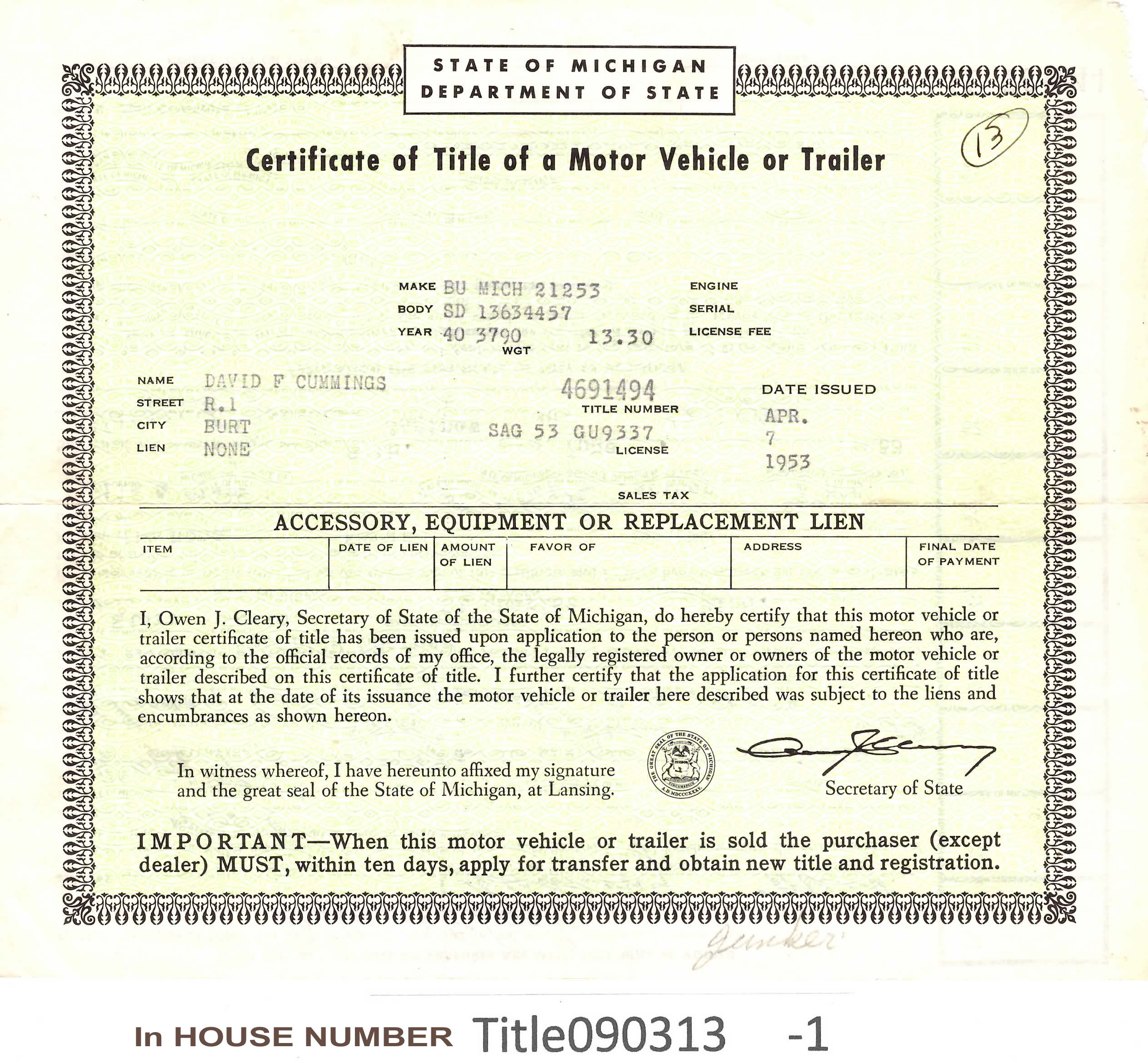 Vintage 1940 Buick Sedan Auto Title Only Historical Document From