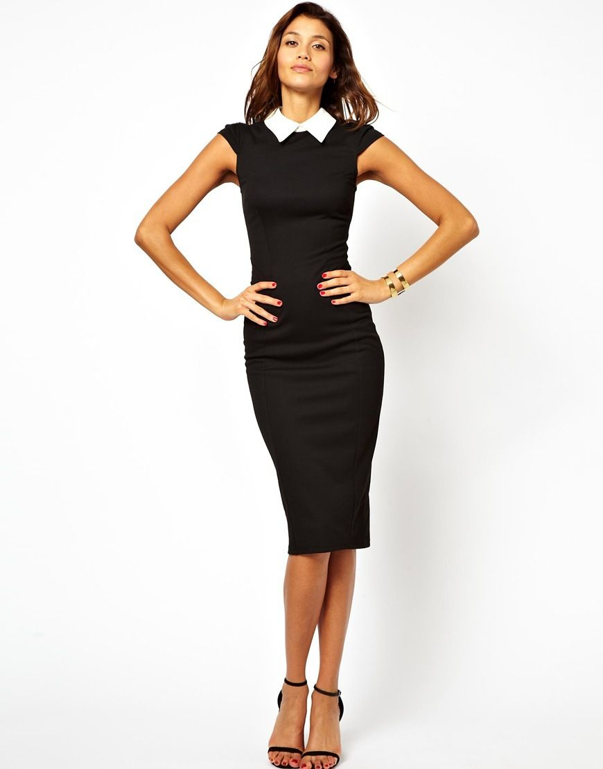 Women Work Wear Black Knee Length Bodycon Pencil Dress | Black ...