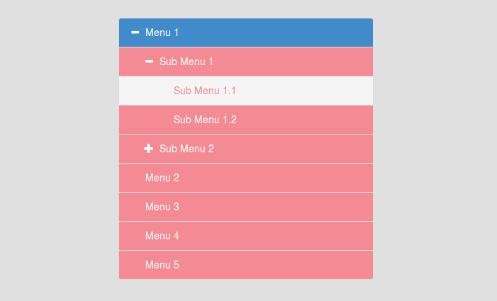 Bootstrap tree view menu example | NiceSnippets com | Menu