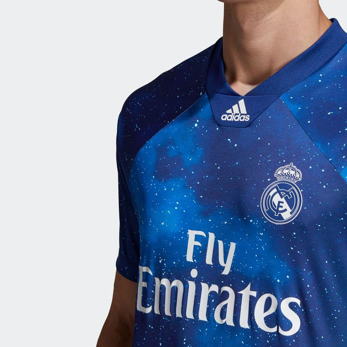 2502619340c 18-19 Real Madrid EA Sports Blue Jersey Shirt