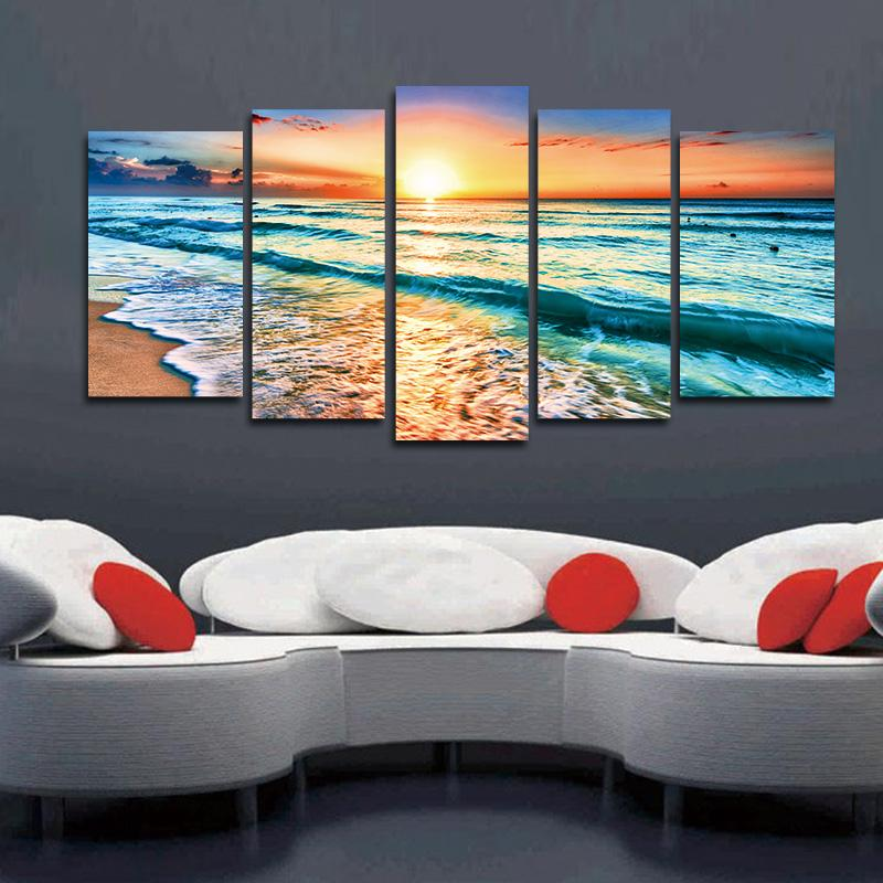 Artwork 5 Panels Wall Art Canvas Seascape Paintings Beach Wall