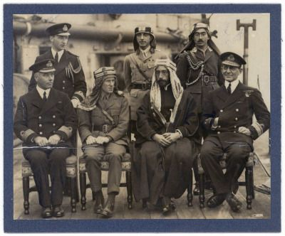 with Prince Feisal on board H.M.S. Orion during Feisal's visit to Scotland in December 1918.