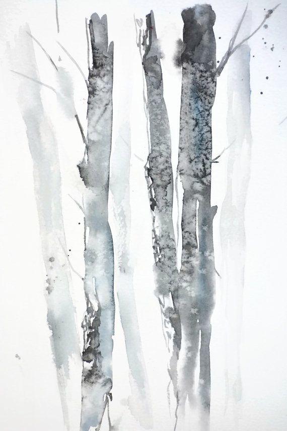 Birch Tree Art Print Painting Landscape Watercolor Artwork Grey