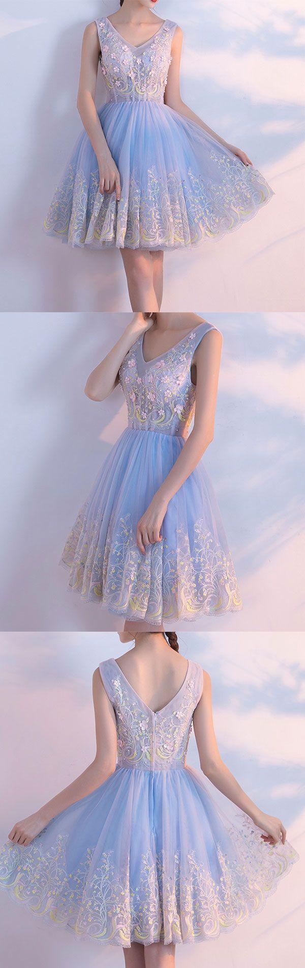 Cute light blue v neck tulle short prom dress homecoming dresses