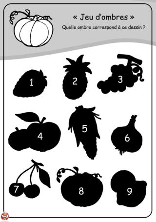 Coloriage Maternelle Fruits Et Legumes.Coloriage Les Ombres Des Fruits Et Legumes Razvivalki I