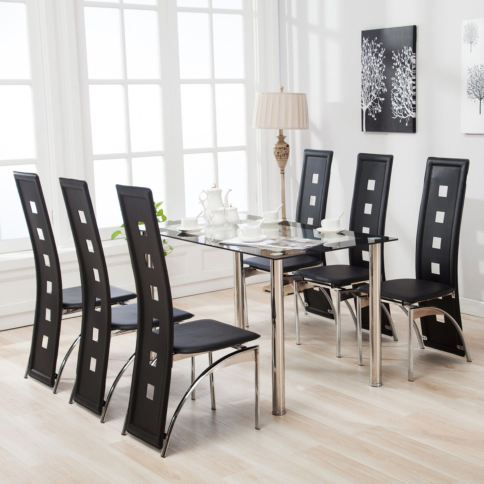 Modern Dining Table 7 Piece Dining Table Set And 6 Chairs Black Glass Metal Kitchen Roo Glass Dining Room Table Kitchen Table Settings Glass Dining Table Set