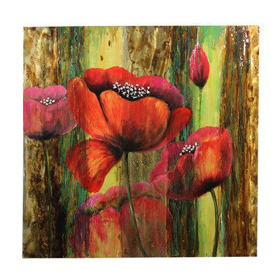 Entrada Peonies Flower Original Painting on Canvas