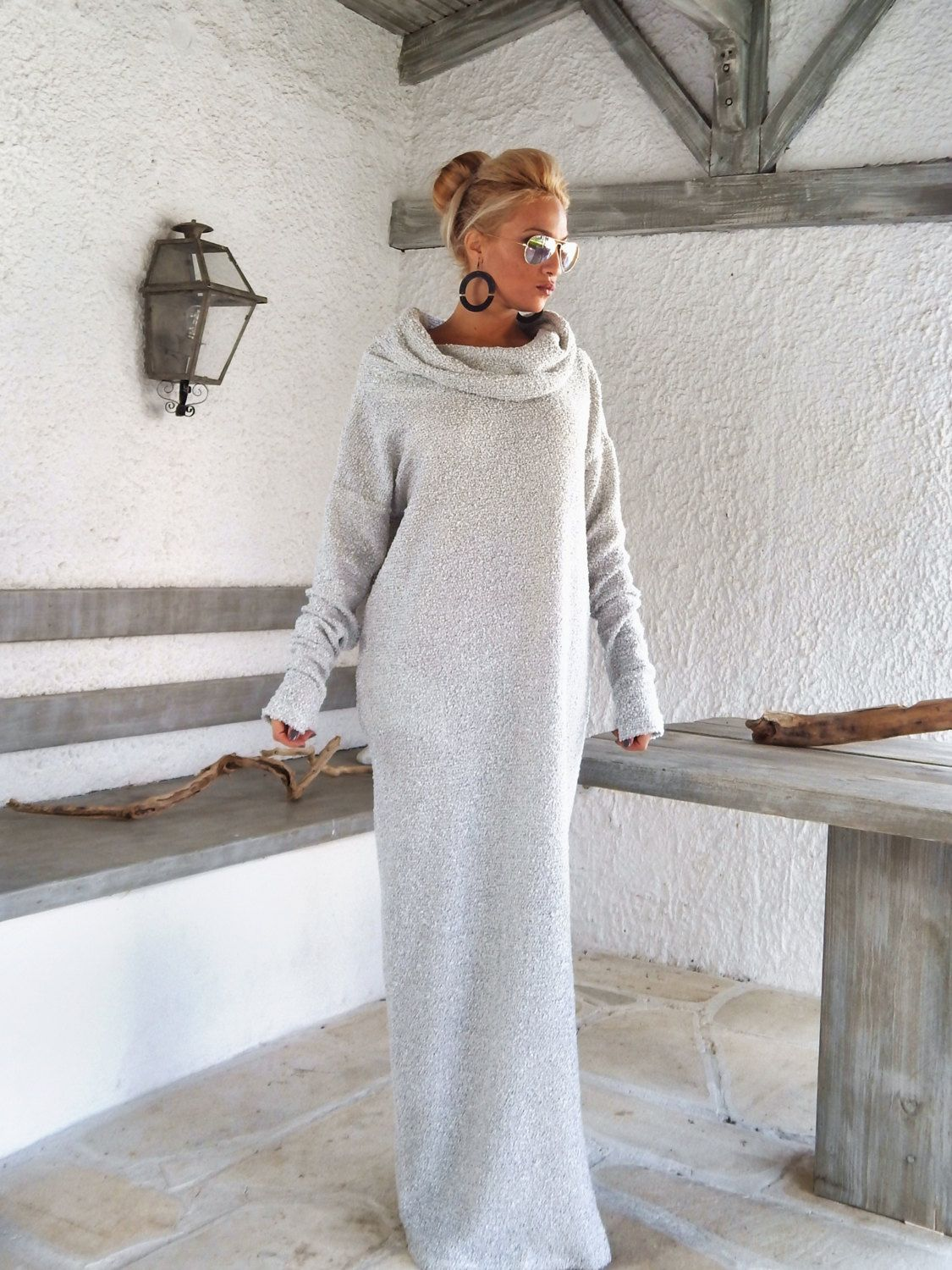 Off white winter wool boucle turtleneck maxi dress kaftan with
