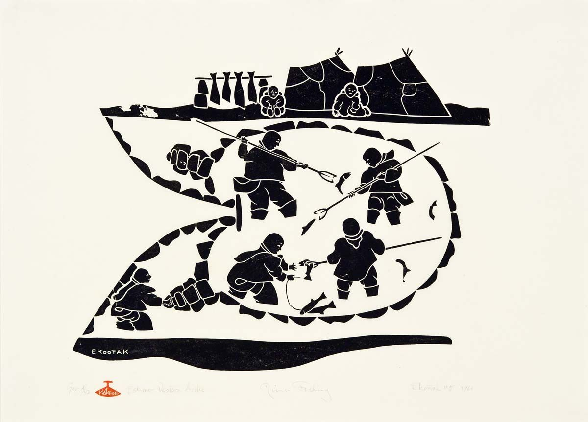 Inuit Art Fish Victor Ekootak