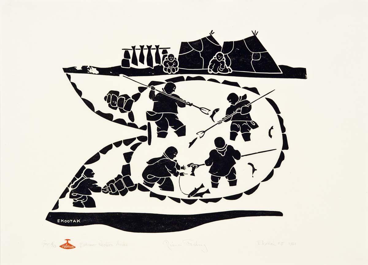 Inuit Art Fish Victor Ekootak