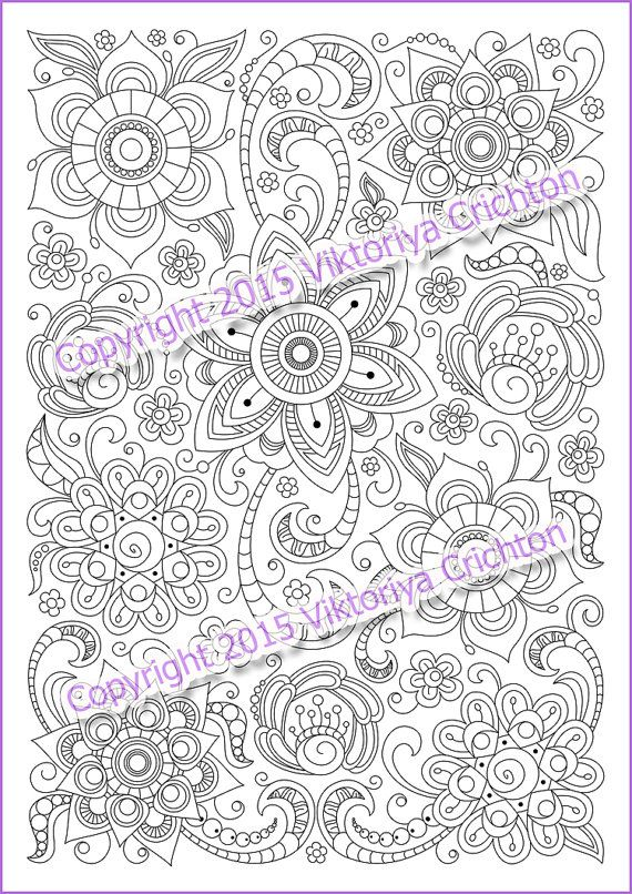 Coloring Page PDF Adults And Children Printable Doodle Flowers