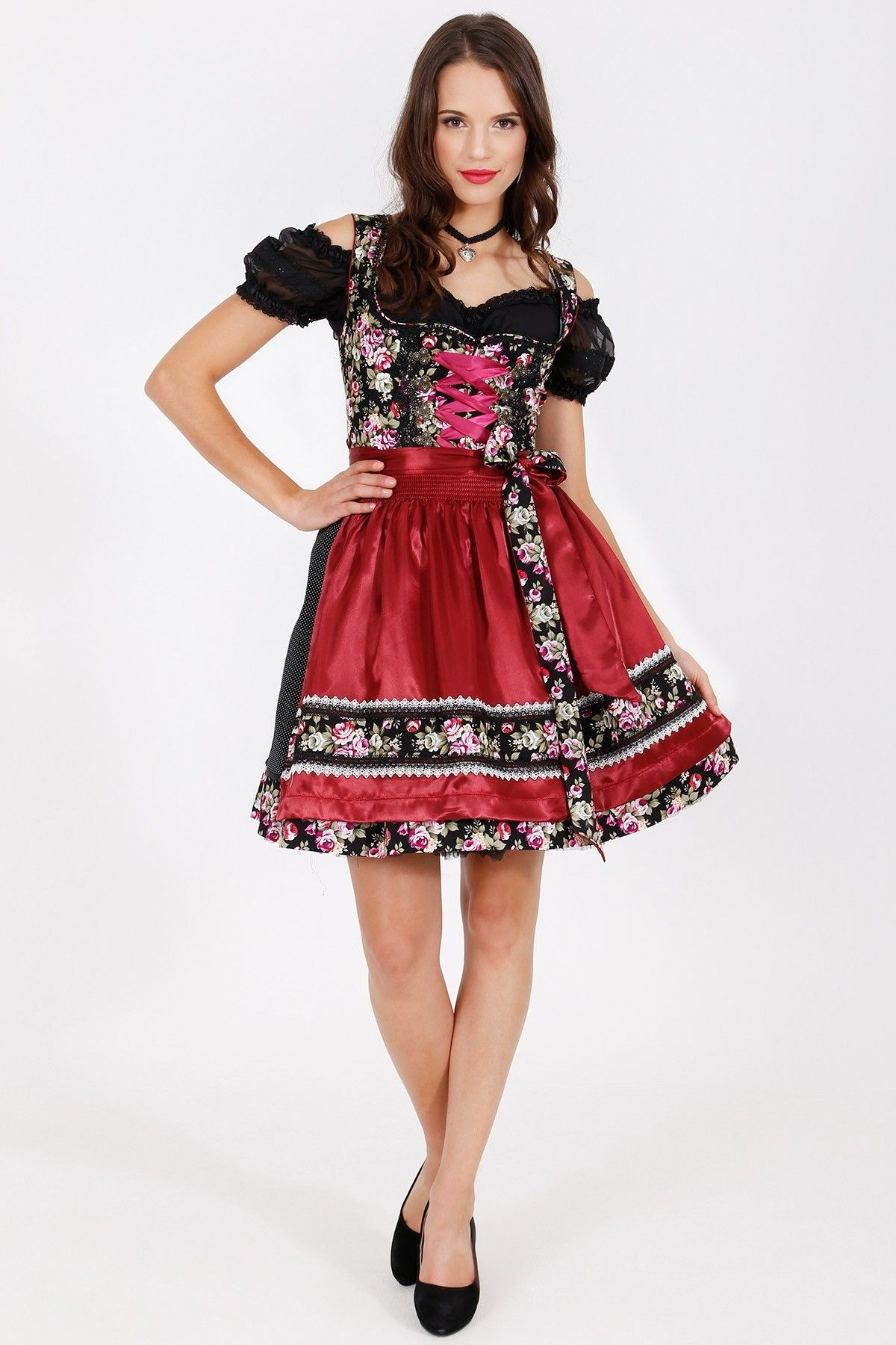 Dirndl black roses cm drindl for pinterest black