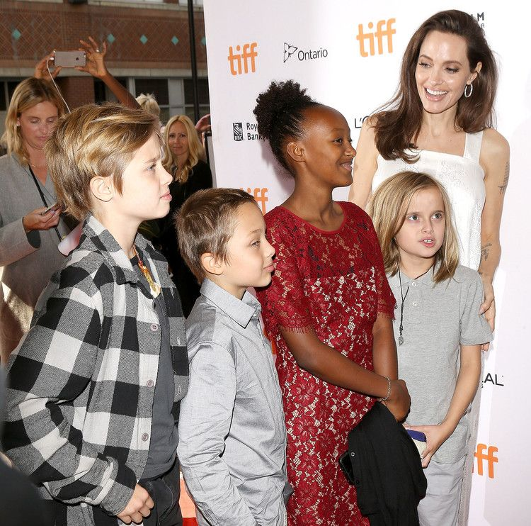Angelina Jolie Films Maleficent 2 in London — with All Six Kids ...