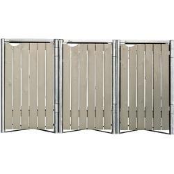 Hide Mülltonnenbox (63,4 x 181,5 x 115,2 cm, Passend für: 3 Mülltonnen 110 - 140 l, Natur/Grau, Holz