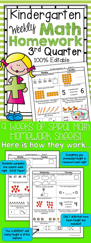 Kindergarten Spiral Math Homework Common Core 3rd Quarter 100 Editable Math Homework Spiral Math Homework Kindergarten Math Homework [ 3000 x 1125 Pixel ]