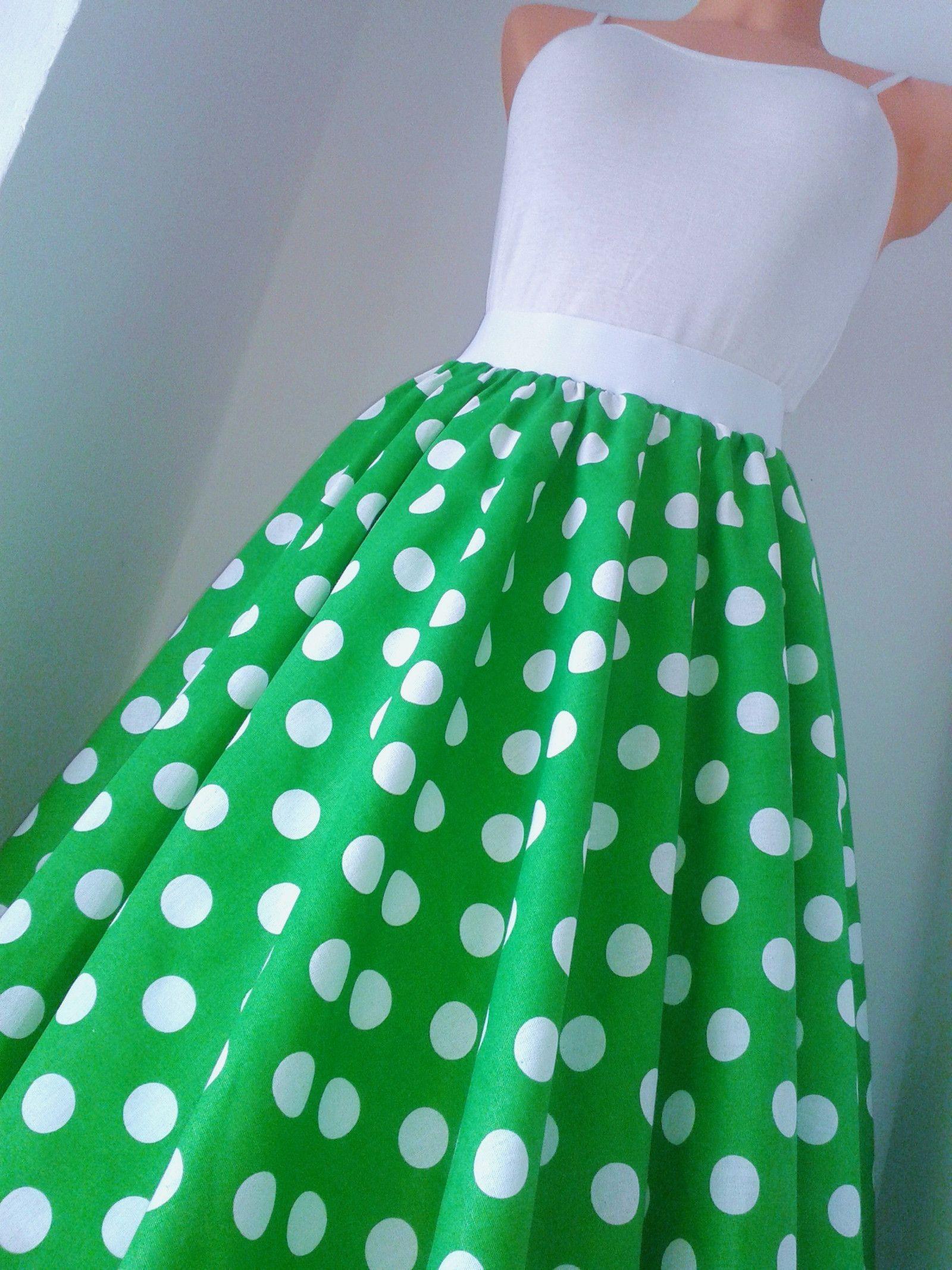 3f2b8d1089d8 Sukně retro zelená Retro kolová sukně z kvalitní pevné bavlny. V pase na  gumu padne