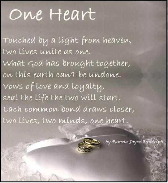 One Heart An Original Wedding Poem About Marriage Written By Pamela Joyce Randolph Arizona Poet Wedding Congratulations Quotes Wedding Poems Wedding Quotes
