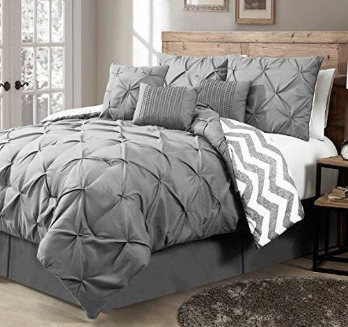 Silver Grey Pinch Pleated Comforter Queen Set Plush Gray Pinched