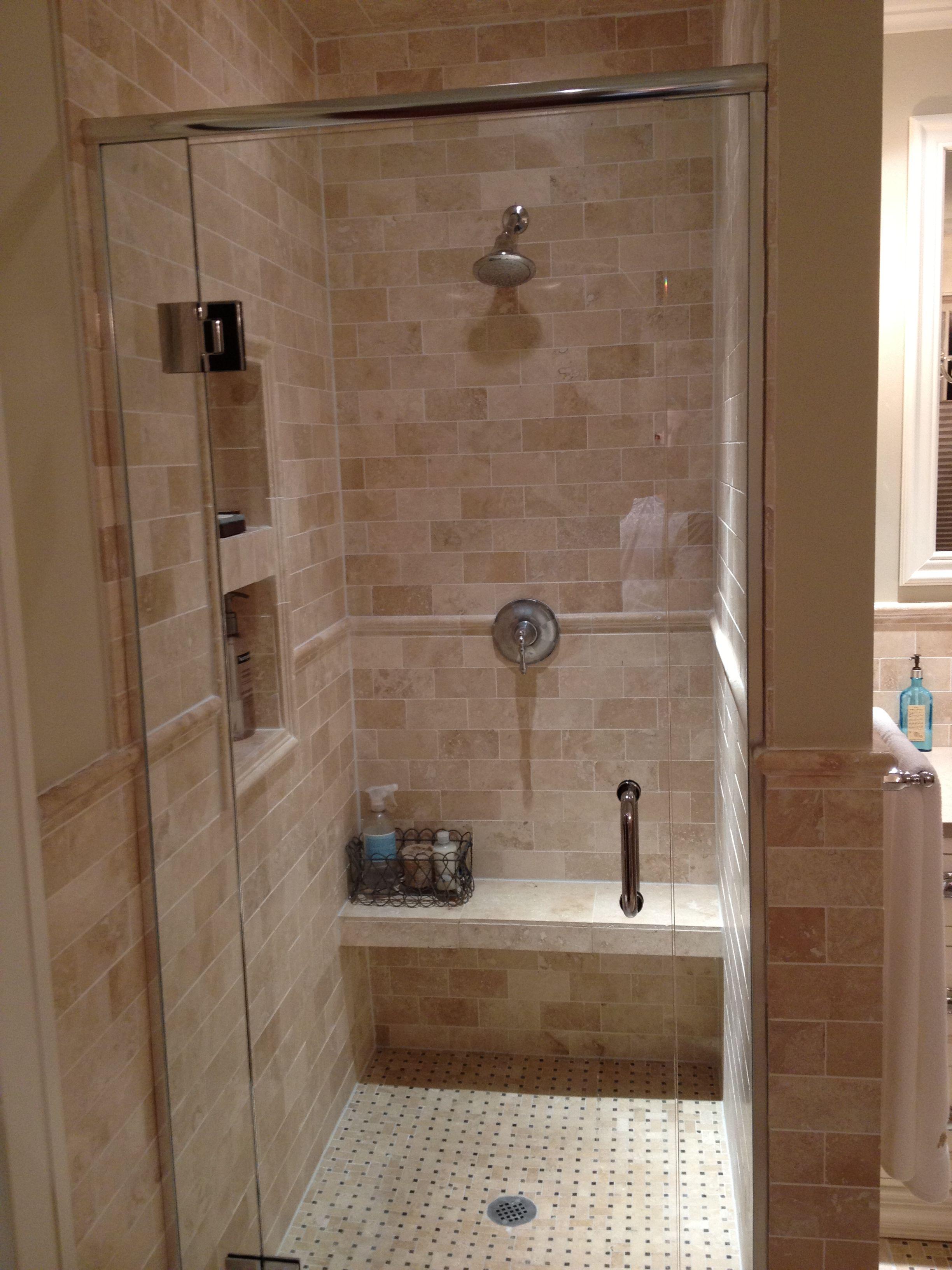 Friesen Floor Decor Travertine Shower Custom Bathroom