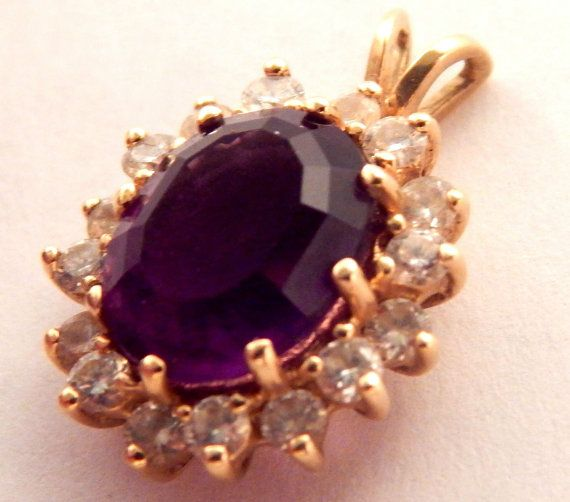 EXCEPTIONALLY BEAUTIFUL  Amethyst and Diamond Jewelry PENDANT Fine Jewelry from…