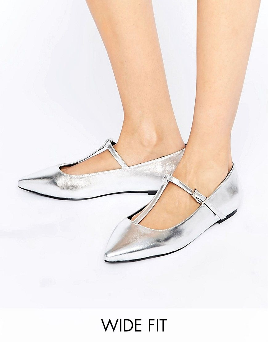 53b6e72fbc9 Image 1 of ASOS LONG LIFE Wide Fit Pointed Ballet Flats