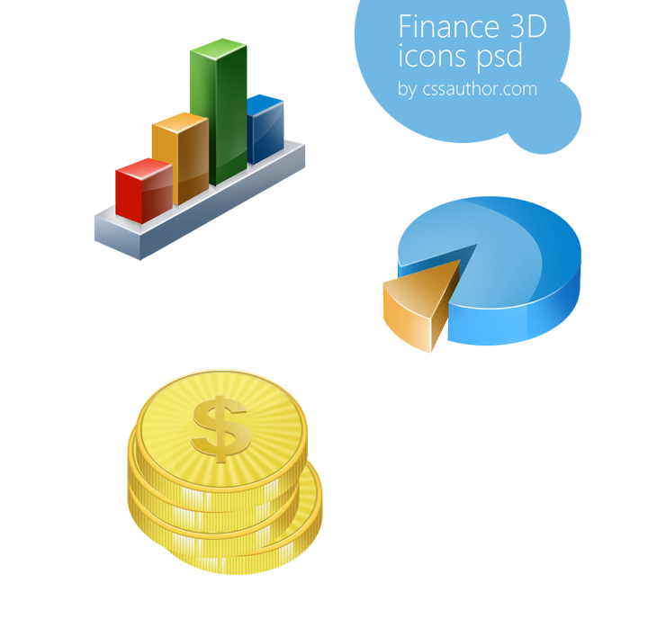 Awesome Finance 3D Icon Set PSD for Free Download