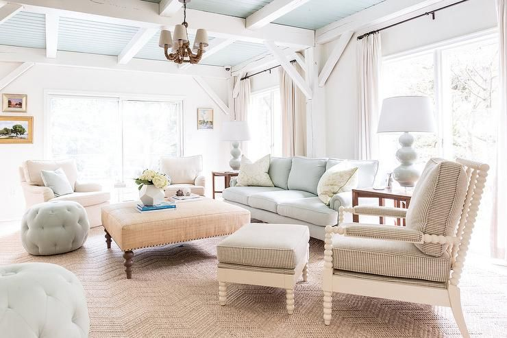 Ivory And Blue Living Room Features A Stunning Blue