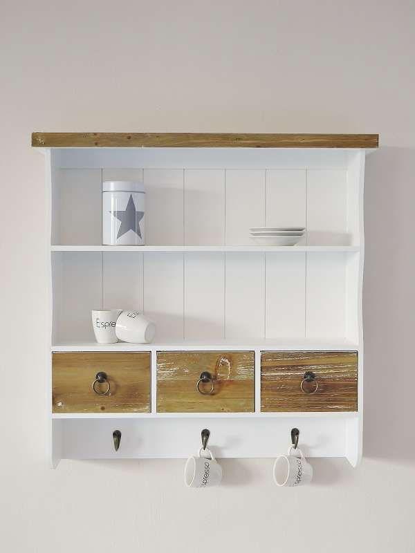 wandregal k chenregal rustica weiss im landhausstil mit 3 schubladen wohnen pinterest. Black Bedroom Furniture Sets. Home Design Ideas
