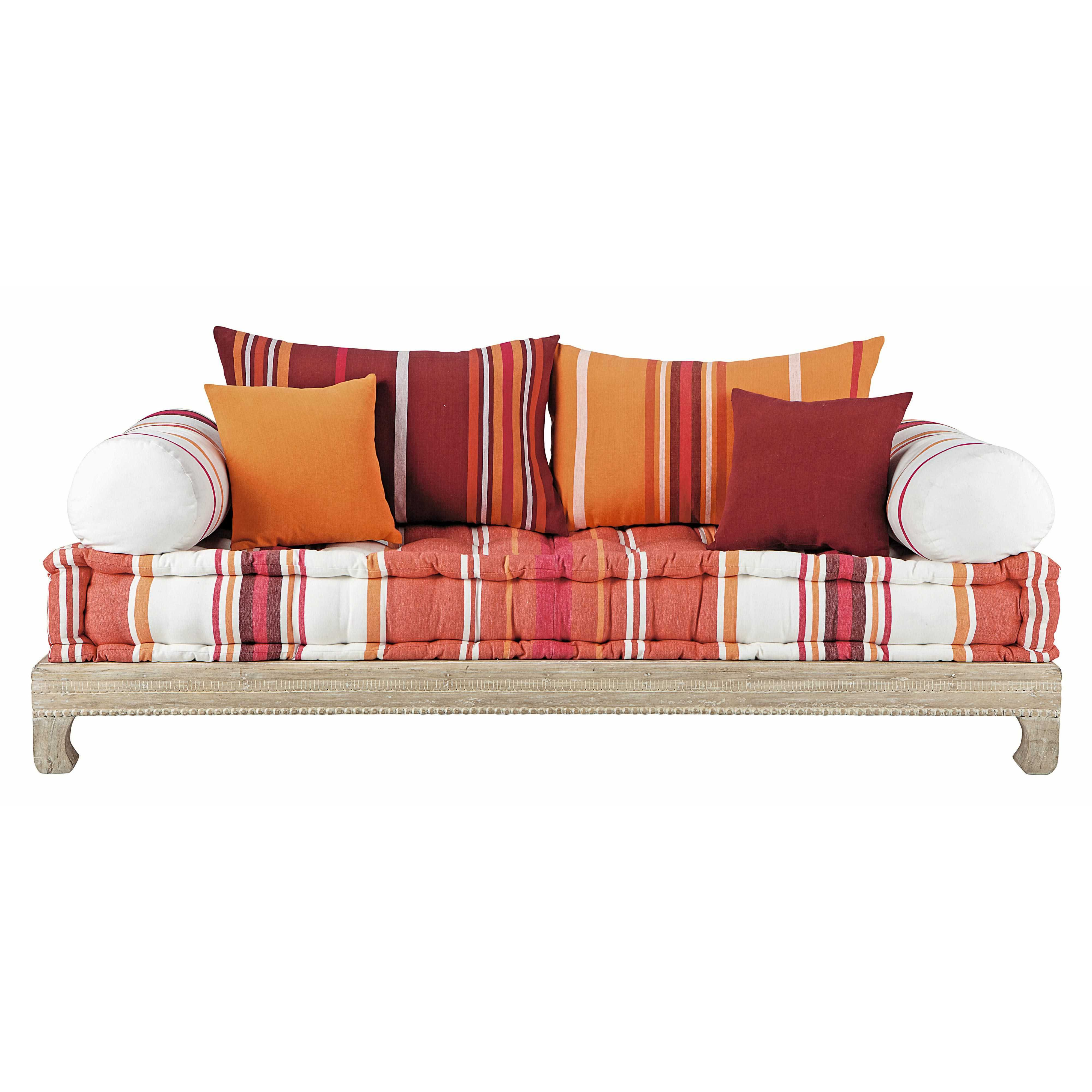Banquette 2 places en coton multicolore boheme for Sofa sectionnel pas cher montreal