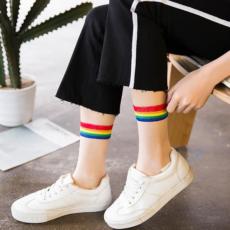 10c9b5b3f Aesthetic Rainbow Socks in 2019