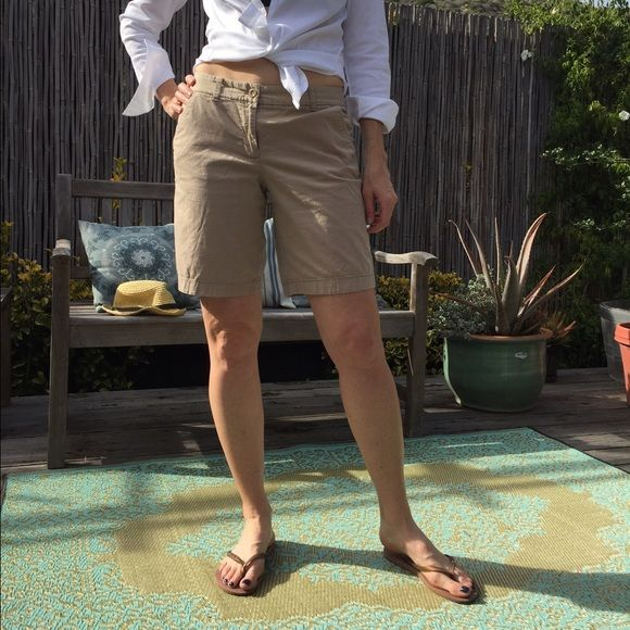 """J. Crew Bermudas size 4 J. Crew cotton Bermuda shorts in khaki size 4. 9"""" inseam. No stains or holes. All hardware attached. Super comfy! Making room in my closet and I have three pairs. J. Crew Shorts Bermudas"""