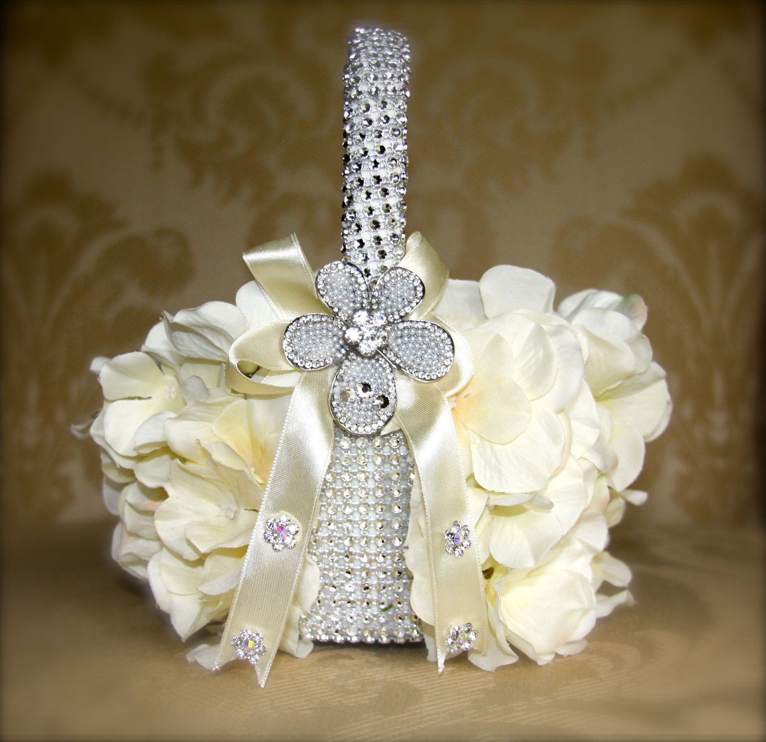 Flower girl basket with brooches hydrangea petals bling