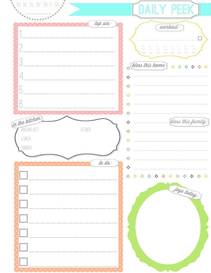 Risultati immagini per cute planner pages Agenda Pinterest - daily planner word template