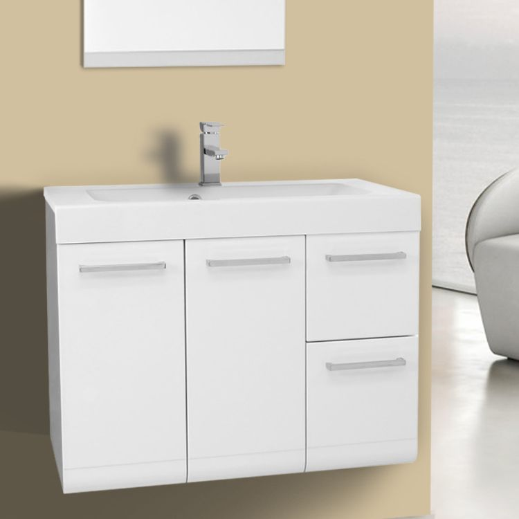 30 Inch Wall Mount Glossy White Bathroom Vanity Set Realistic and