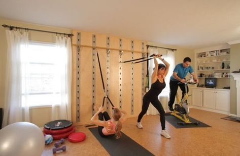family fun in this house gym with wall mounted stretch