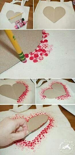 Use eraser on pencil to dot shades of red, pink, white along outside of template onto a canvas bag. Remove template and have shape outlined - pretty #shadesofwhite