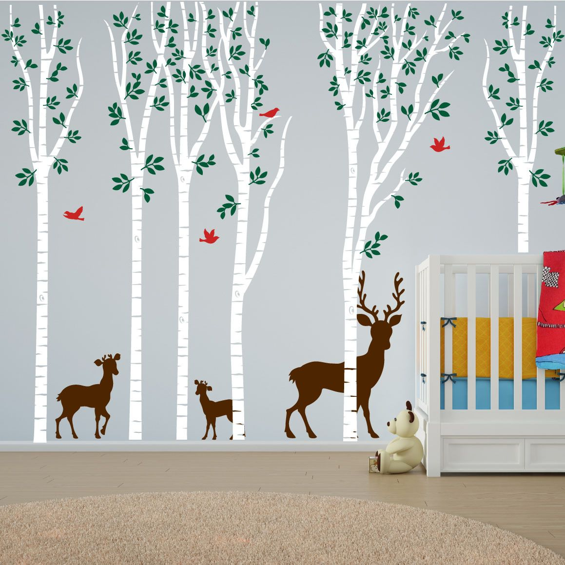 Birch Tree Forest Set Vinyl Nursery Wall Decal Deer Tree - Custom vinyl wall decals deer