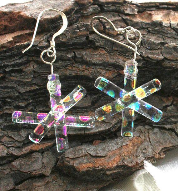 Rainbow Snowflake Fused Glass Earrings, Snowflake Earrings, Dichroic Earrings, Dichroic Snowflake, Fused Glass Jewelry, Holiday Jewelry