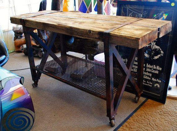 Custom Made Reclaimed Wood Sofa Table Console Table Buffet Table Industrial Rustic Wood Sofa Table Sofa Table Wood Sofa