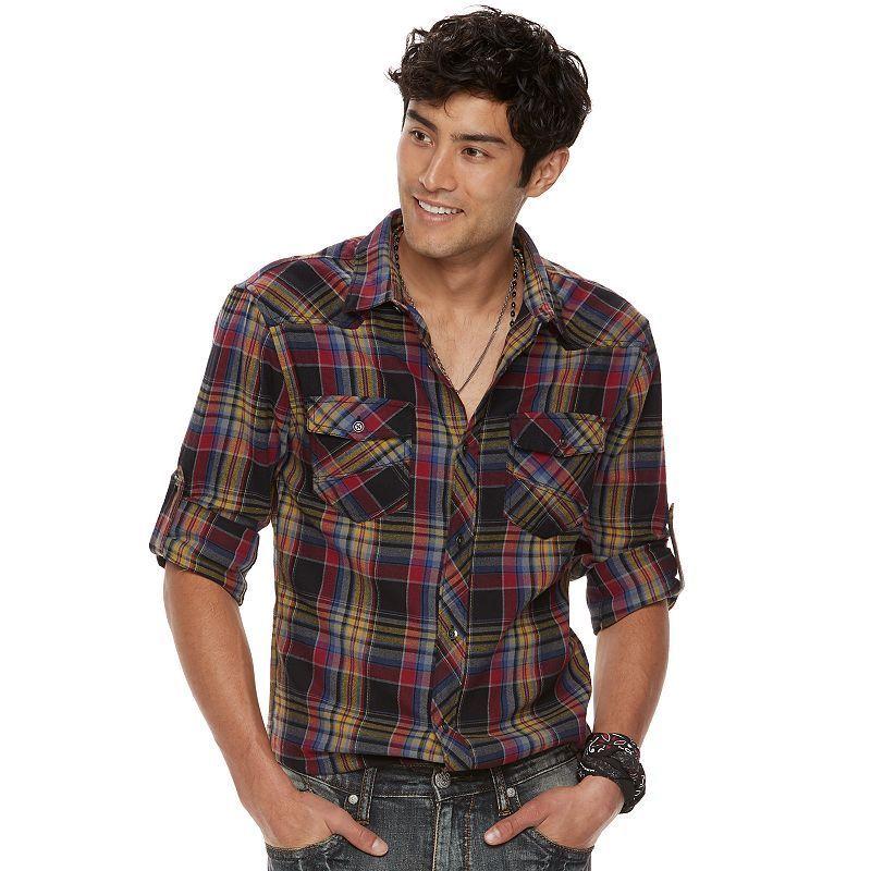 Big & Tall Rock & Republic Plaid Roll-Tab Flannel Button-Down Shirt, Men's, Size: Xl Tall, Oxford