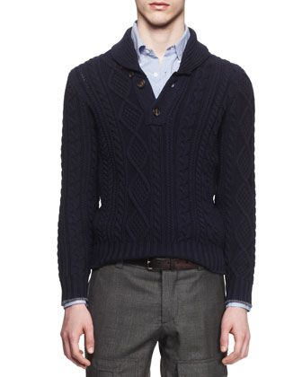 Shawl-Collar Cable-Knit Pullover Sweater, Blue by Brunello Cucinelli at Neiman Marcus.