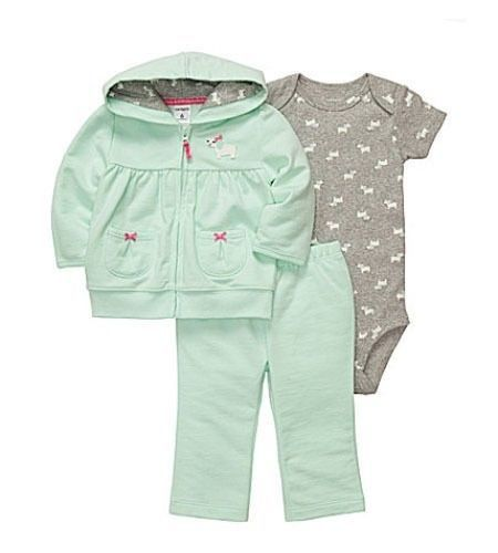 e741ba84f07f NWT Carter s Baby Girl Clothes Cotton Cardigan Pant Set 6 9 12 18 24 ...