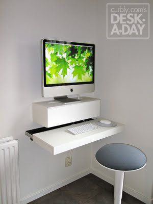 Desk A Day How To Make A Wall Mounted Computer Station Ikea Computer Desk Desks For Small Spaces Wall Mounted Desk Computer desk for small space