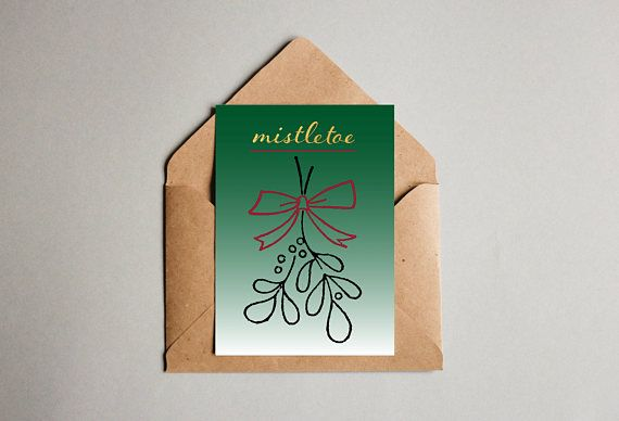 Mistletoe printable unique Christmas card wall art download