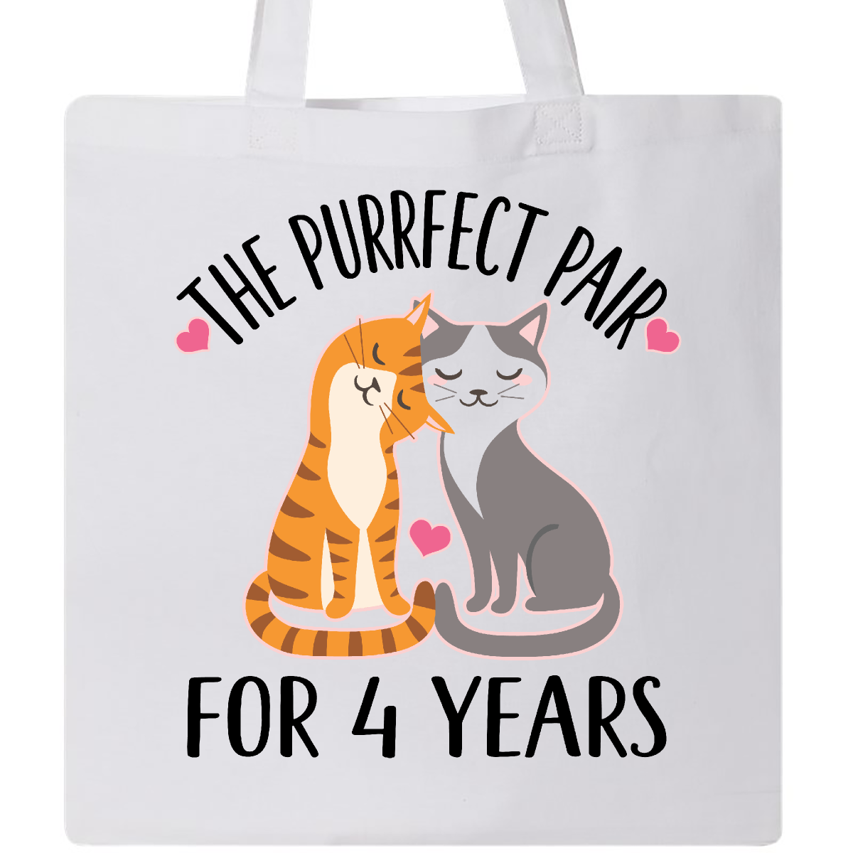 4th Anniversary Gift Cat Couples Tote Bag White 12.99 www